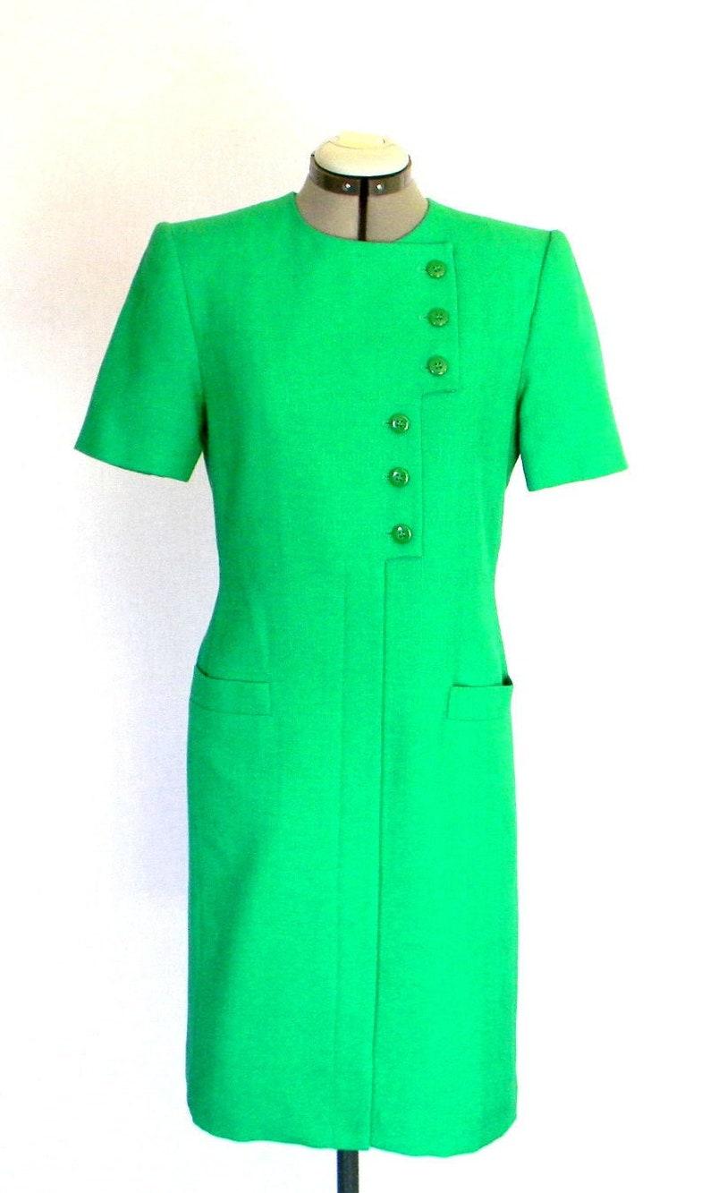 aa7dab5d6ad44 Green Mod Dress .Vintage Shirt Dress Mad Men Fashion. 80s Sheath Party  Dress. Size Medium. Cocktail Dress. Summer Dress. St.Patric's Day