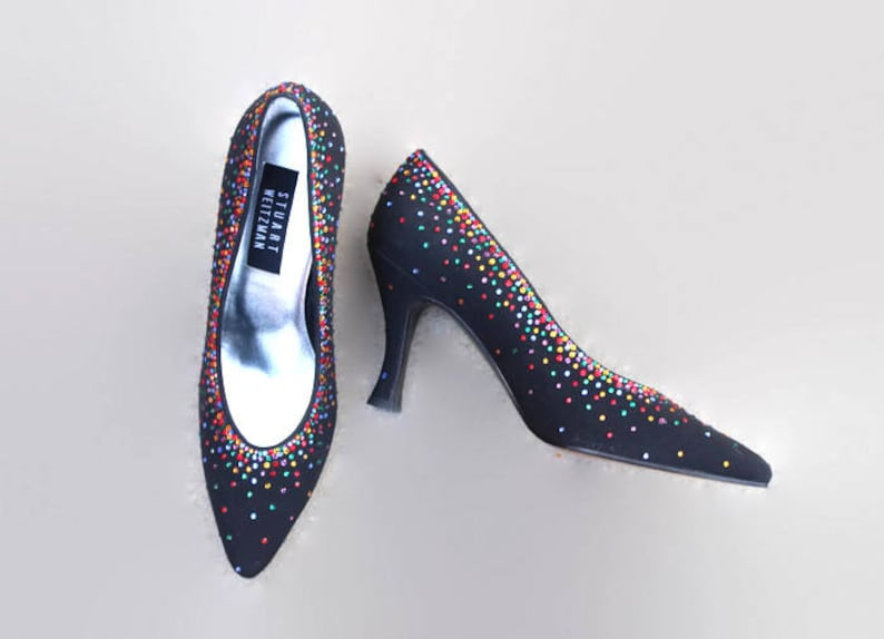 ff9a6c38c 80s Stewart Weitzman pumps. Rhinestone heels. Party Shoes.