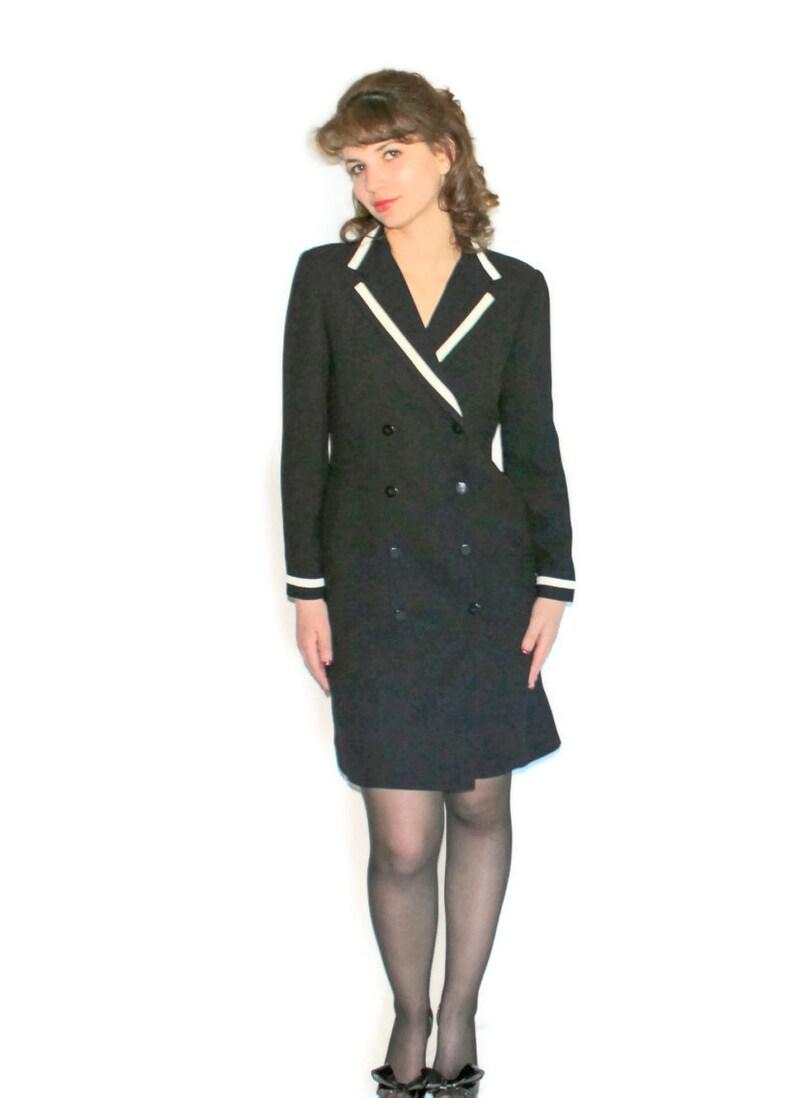 2344cc49fb51d 80s black white dress. Vintage shirt dress Back to school. Little black  sress. White trim. Size SMALL Petite. LBD. Fall fashion.