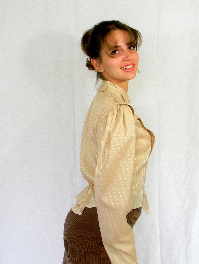 50s Tuxedo Blouse Striped Beige Gold Pastel Mad Men Fashion Spring fashion Vintage Silky Blouse