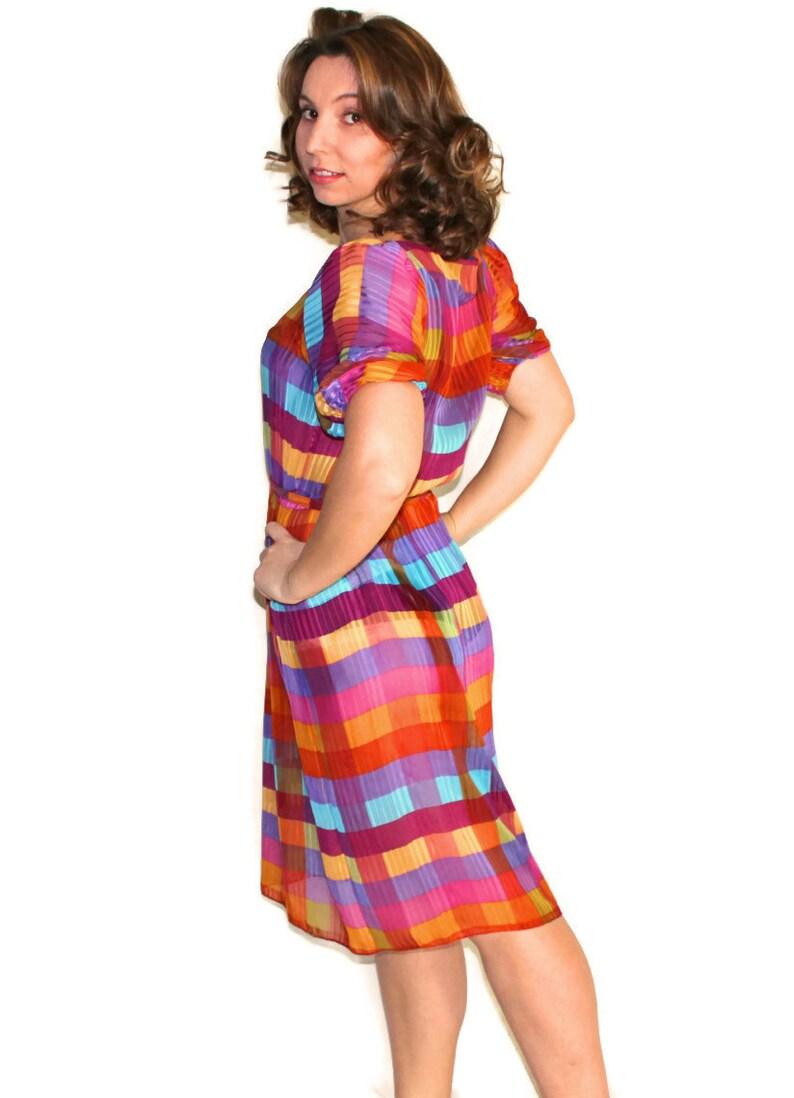70s Liz Petites Summer Dress Pink Orange Turquoise Purple Green Yellow Vintage Sheer Plaid Rainbow Dress Mad Men Fashion