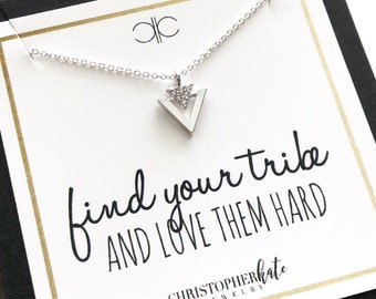 Stainless steel Arrow Badass bestie necklace Bestfriend necklace Tribe necklace friendship Tribe definition sign card Tribe gift woman