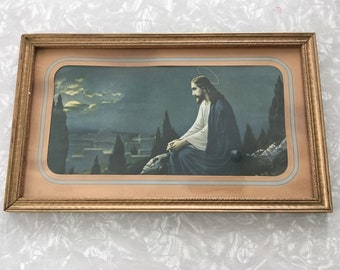 Vintage Jesus Art - Framed Christ Picture Religious Decor