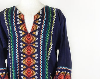 Vintage Embroidered Tunic - Blue 70s Style Shirt Size Large