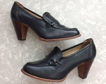 Black High Heels - Vintage Leather Shoes Ladies Size 5 1/2