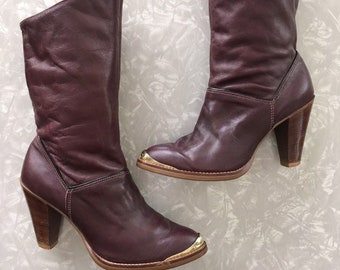 f4db5f646 Vintage Leather Boots Purple Dingo Bootie Size 5 1/2