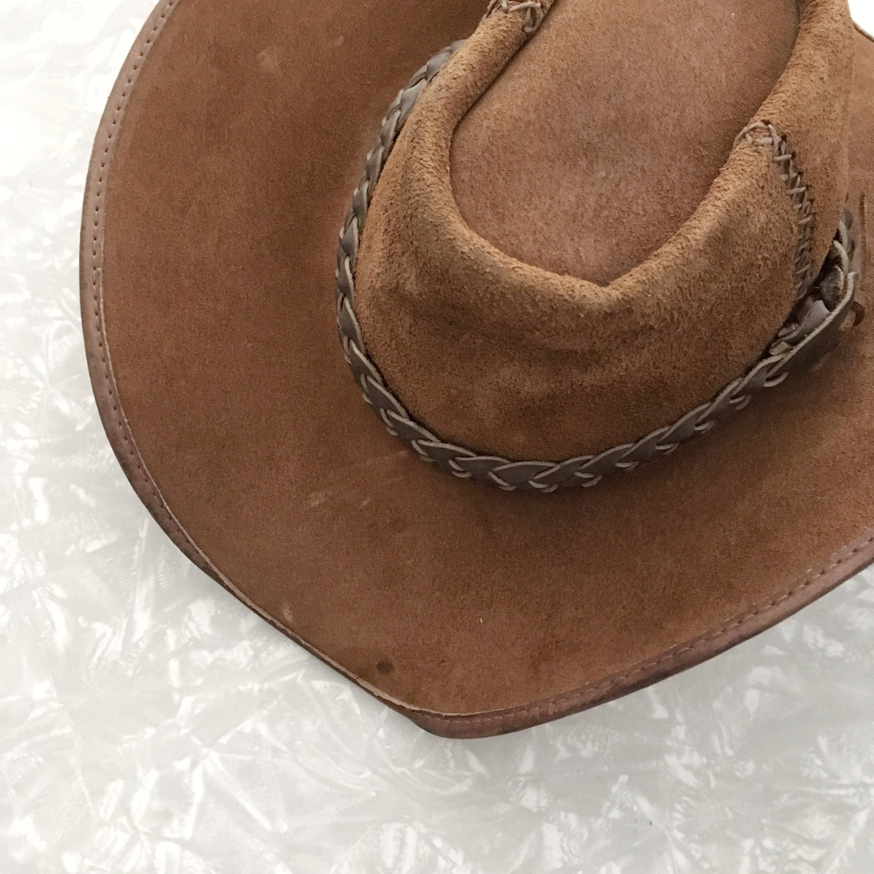 Brown Leather Hat Vintage Western Rancher Cap  a7b06f65b45