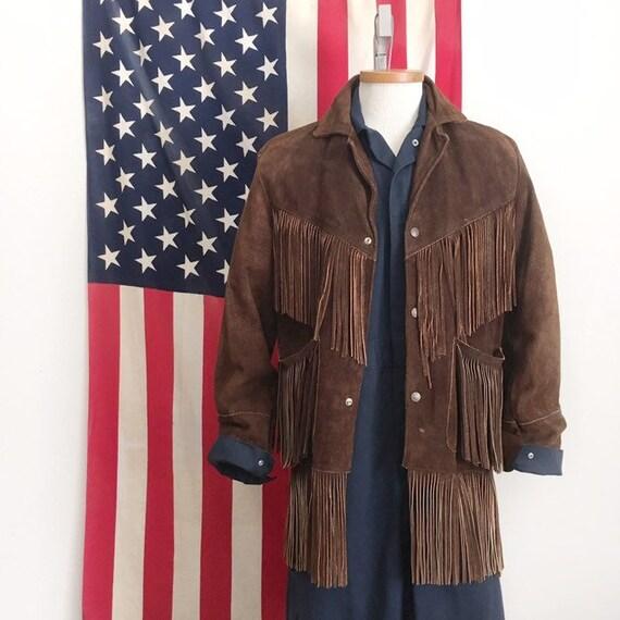 Vintage Leather Jacket Brown Suede Fringe Coat Siz