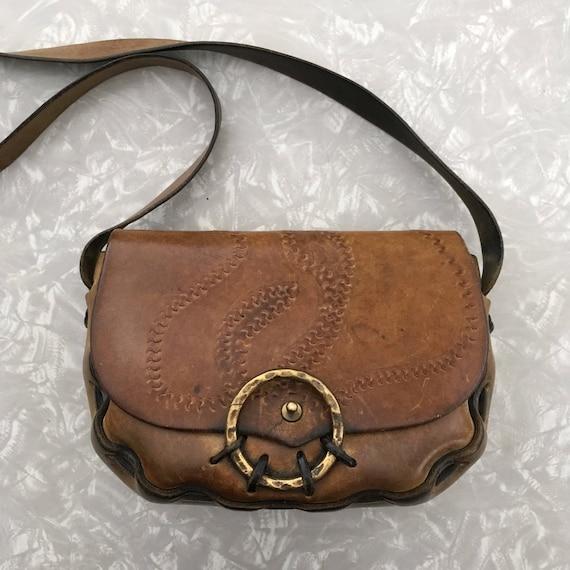 2e33df244019 Saddle Bag Purse Vintage Brown Leather Boho Style Handbag