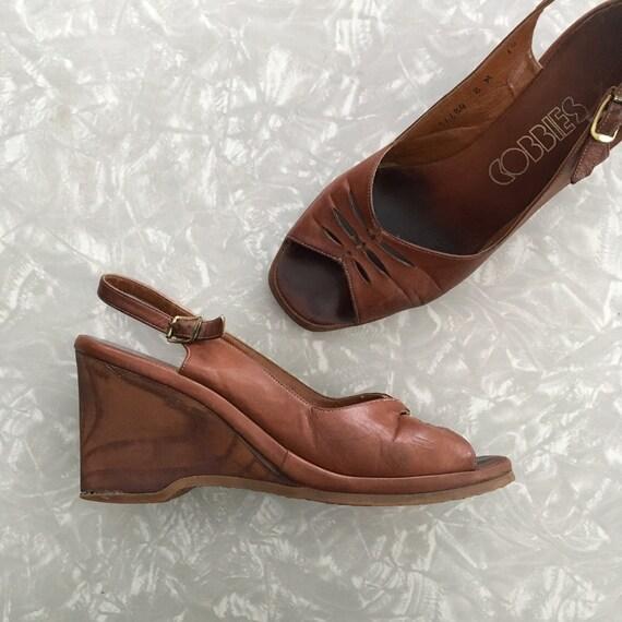 Ladies Wedge Sandals Vintage 8 70's Shoes Brown Size WIHeDEY92