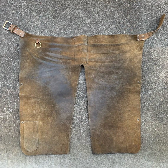 Vintage Leather Waist Apron Workwear - image 2