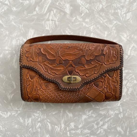 Vintage Tooled Leather Purse Evening Bag
