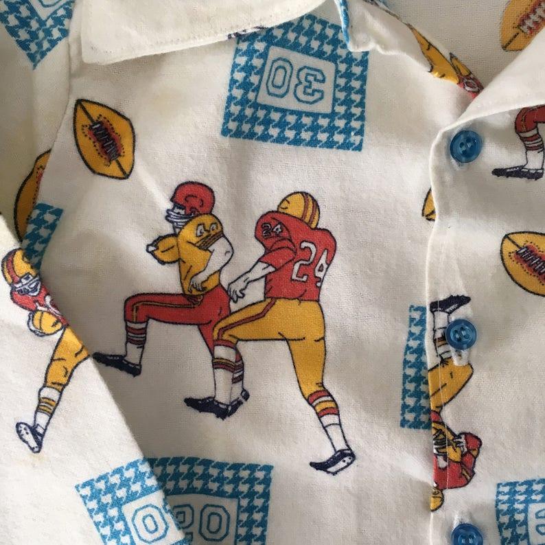 Vintage Kids Pajamas Flannel Football PJ/'s