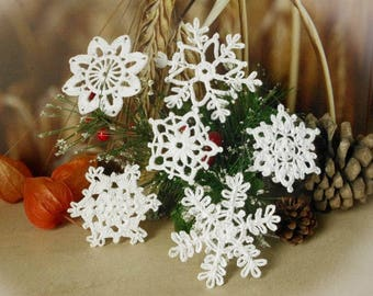 Crochet snowflakes Set of 6 Lace snowflakes Winter decor Handmade snowflakes Christmas decorations S18 S1 S16 S6 S14 S11