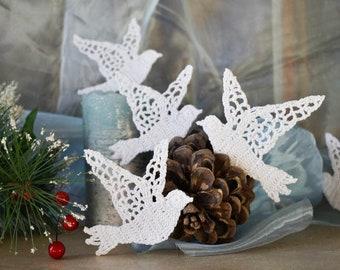 Crochet Dove ornament Christmas ornaments White crochet bird ornaments Religious decor Christmas tree decorations
