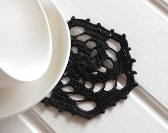 Black crochet doily Small lace doilies Geometric cotton centerpiece crochet coaster 130