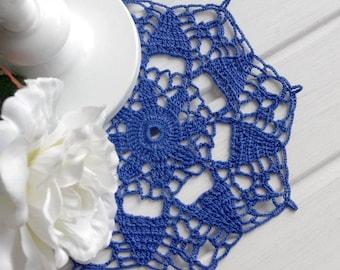 SALE 15% OFF: Blue crochet doily Lace doily Handmade centerpiece doily Crochet doilies Table decoration Cotton lace doily 301