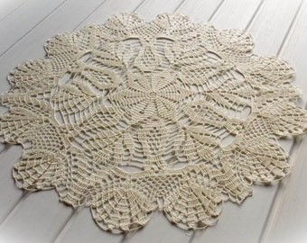 SALE 15% OFF: Large crochet doily Ivory lace doilies Cream crochet doily Large lace doily Crochet decoration Living room decor 288