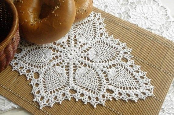 Pineapple Table Runner Oval Crochet Doily Crochet Table Runner Etsy