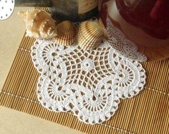 Small crochet doily White doily Handmade cotton lace doily Crochet doilies 369