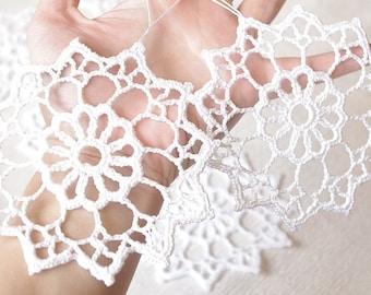 Crochet snowflakes Christmas ornaments decorations Cotton embellishment White snowflakes Christmas snowflakes S5