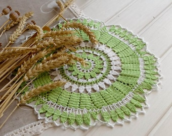 SALE 25% OFF: Green crochet doily Lace doily Handmade cotton lace doilies Spring decor White and green Living room decor 293