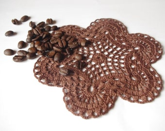 Small crochet doily Chocolate brown doily Handmade cotton lace doily Crochet doilies coffee 71