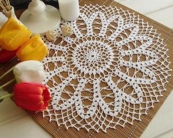Large crochet doily White crochet doilies Round crochet centerpiece Daisy crochet doily Crochet decoration Lace decor 379