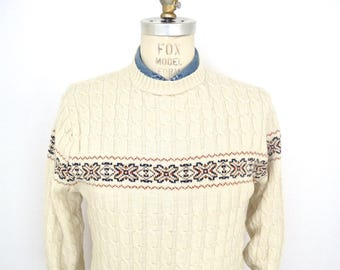 1950s Cable Knit Sweater with Fair Isle pattern band // vintage Lord Jeff ivory white crew neck cableknit sweater / men's large