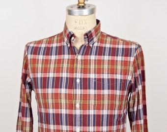 Ralph Lauren Indian Madras Plaid Shirt / vintage RL Rugby red white blue bleeding Madras pattern button-down / men's small-medium