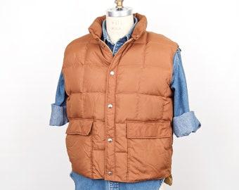 b74da76fa526d Vintage Down Puffer Vest / Down Designs quilted dark & light tan brown  nylon feather fill puffy ski vest / khaki hunting vest / men's large