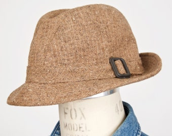 d8b1a2862ea Pendleton Tweed Trilby Hat   vintage brown wool fedora-like rain cap with  band buckle   men s medium