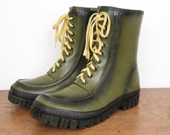 a719b9ae74f11 Vintage Rubber Rain Boots / Explorers Waterproof Hunting Boots   Etsy