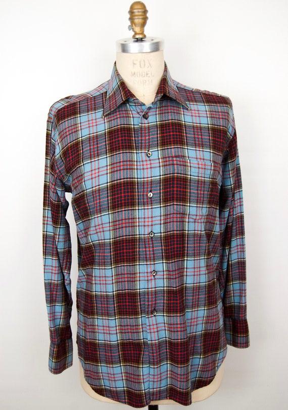 1980s Viyella Plaid Wool Flannel Shirt / men's lar