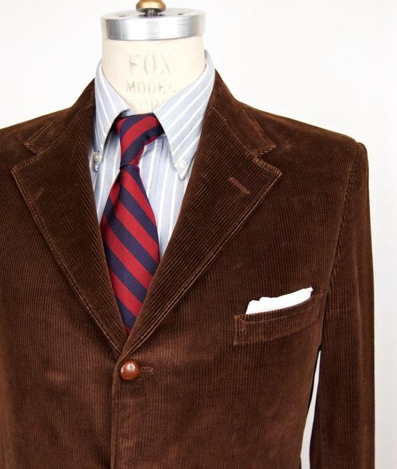 1970s 80s Corduroy Sport Coat Cable Car Clothiers brown velvet y 3 button ivy league suit jacket men's medium