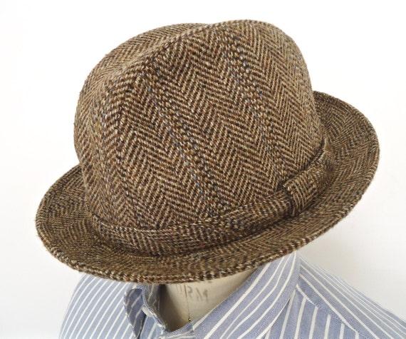 Vintage Stetson Tweed Trilby Hat   brown herringbone wool  4765802ec23