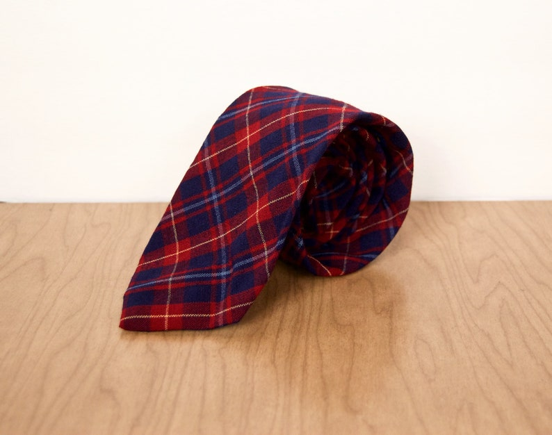 c83a4edf581 Pendleton Plaid Wool Necktie   vintage navy blue   burgundy