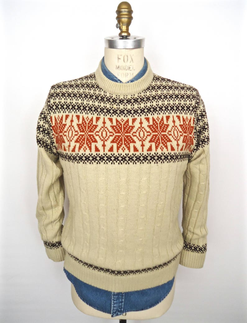 0abd8429f08691 Vintage Snowflake Pattern Sweater   tan brown rust red orange