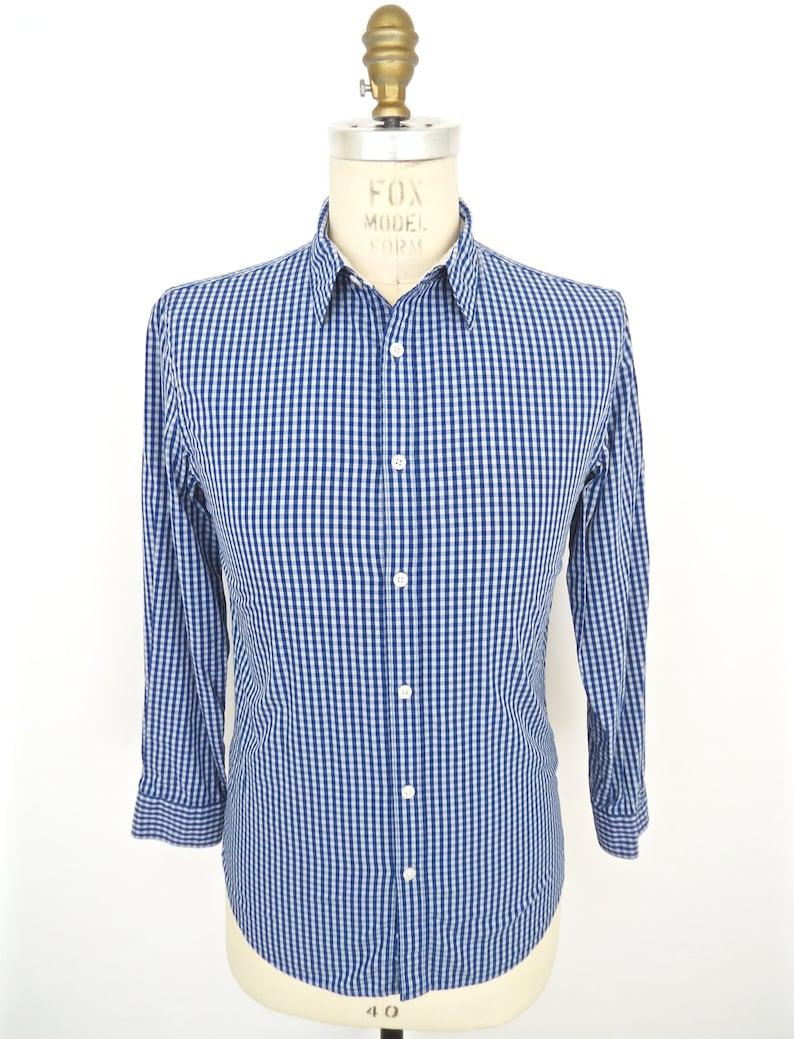 816270cc5 SALE DKNY Blue Check Dress Shirt / Donna Karan baby blue | Etsy