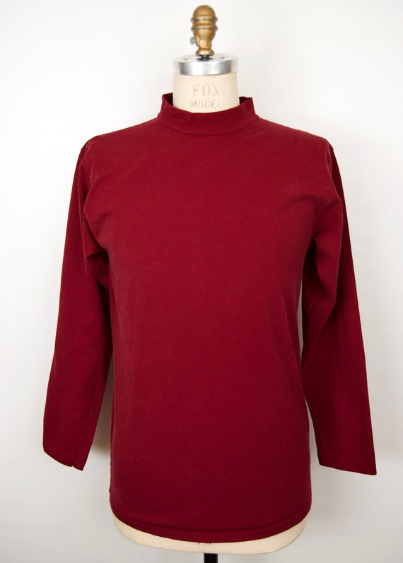 1970s-80s Russell Athletic Shirt w/ mock-neck in … - image 1