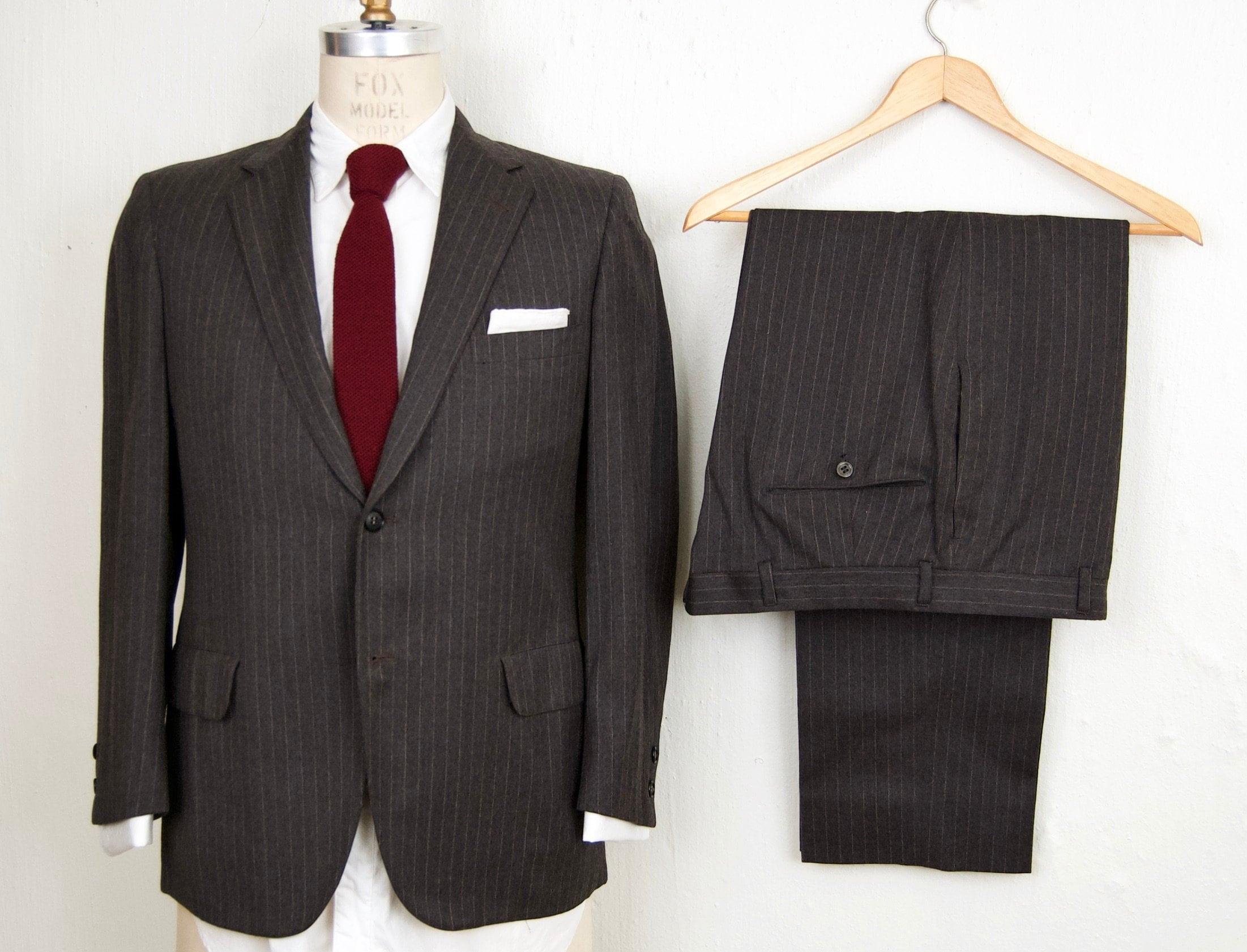 1960s – 70s Men's Ties | Skinny Ties, Slim Ties 1960S Gray Pin-stripe SuitVintage Andre Brook Grey Wool Flannel 2-Piece Suit Mens Small $149.00 AT vintagedancer.com