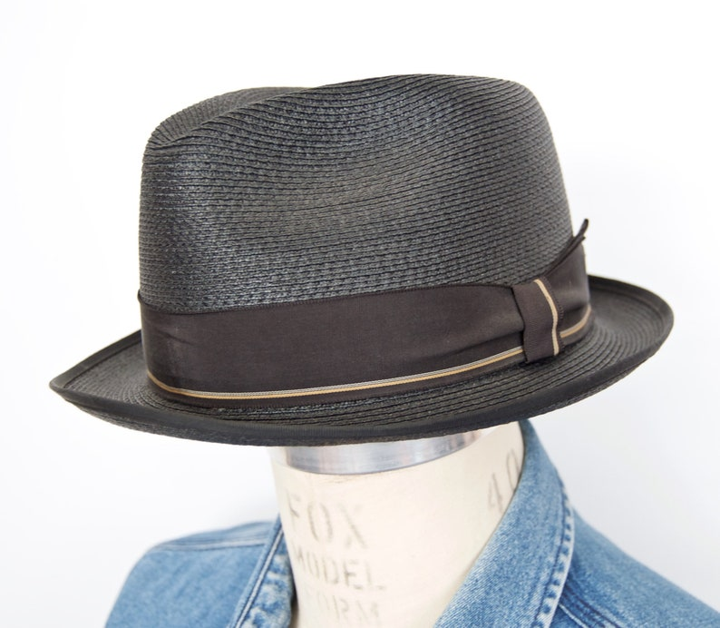 24b49cc75 1950s-60s Stetson Straw Fedora with Black & Gold Striped Ribbon Band /  vintage fifties sixties woven wicker hat / men's large, size 7.25