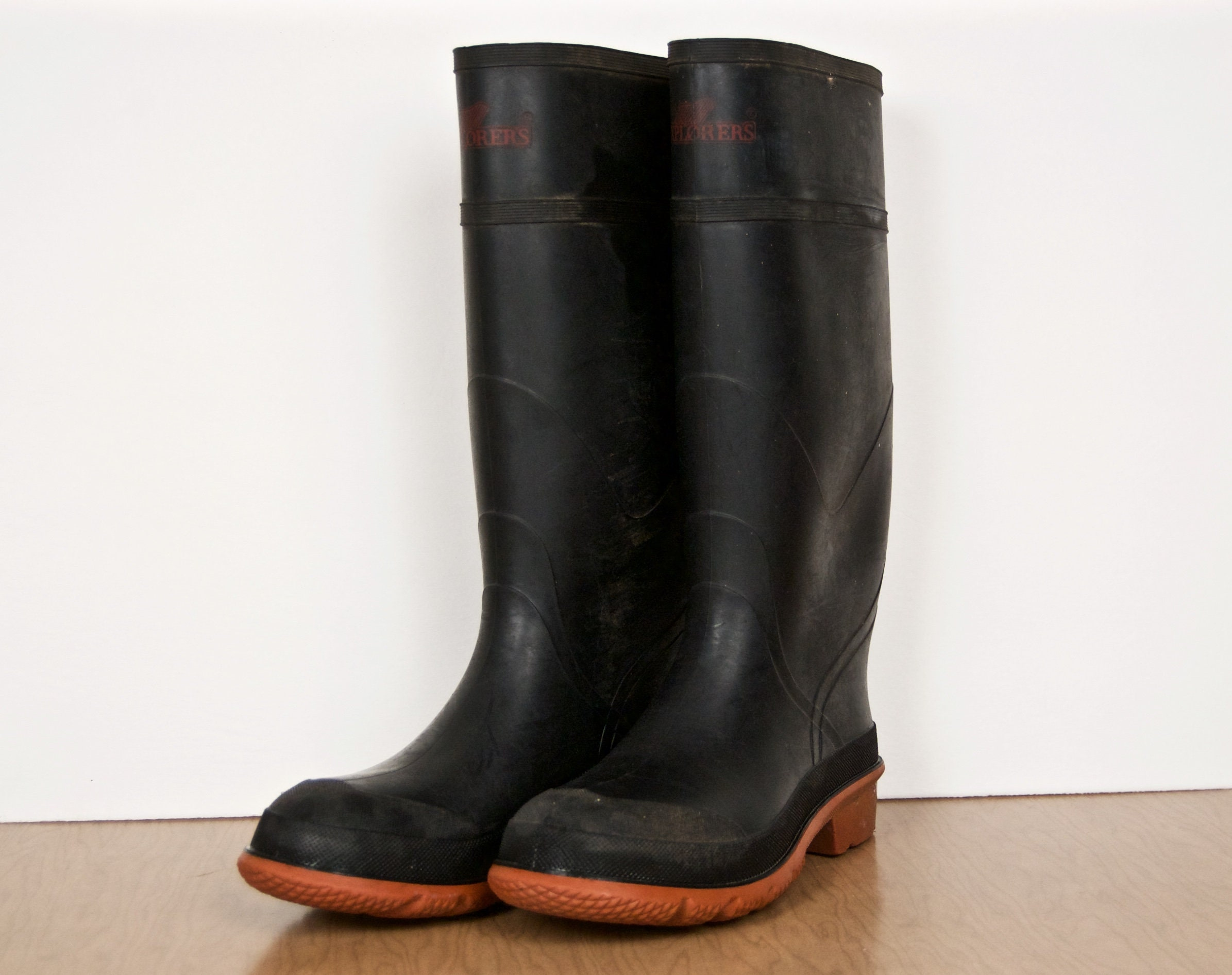 beb7a453cf41e Vintage Rubber Rain Boots / Explorers Waterproof Hunting Boots / black  rubber water proof work books w/ brick red orange soles / US Men's 9
