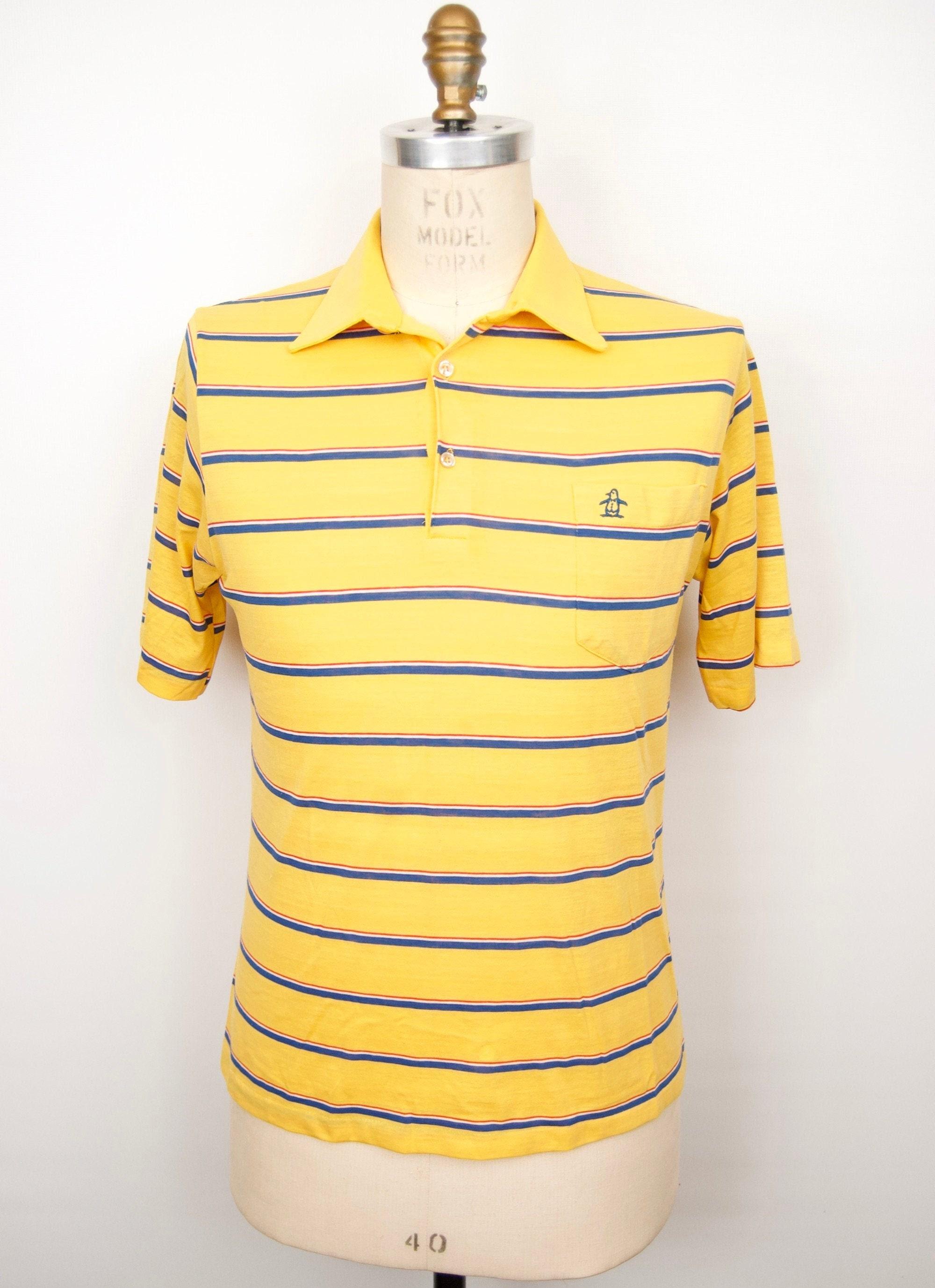 1970s Men's Shirt Styles – Vintage 70s Shirts for Guys 1980S Munsingwear Polo ShirtPenguin Logo Grand Slam Stripe Tennis Or Golf Shirt Medium-Large $34.00 AT vintagedancer.com