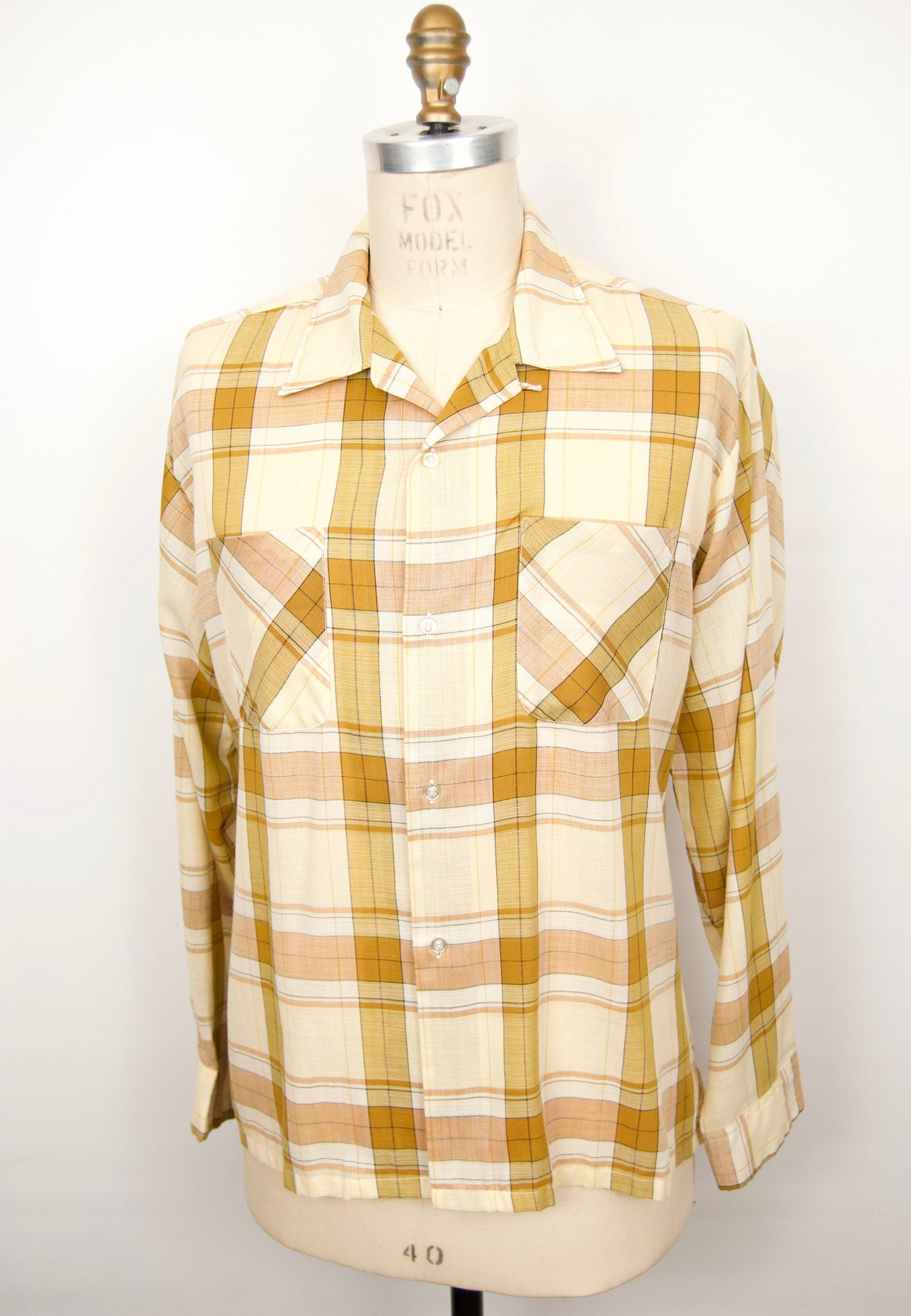 1950s Men's Ties, Bow Ties – Vintage, Skinny, Knit 1950S Plaid Camp Shirt with Loop Collar, Convertible LapelGolden Yellow Ochre  Light Green-Ish Khaki Check Pattern Mens Extra Large $72.00 AT vintagedancer.com