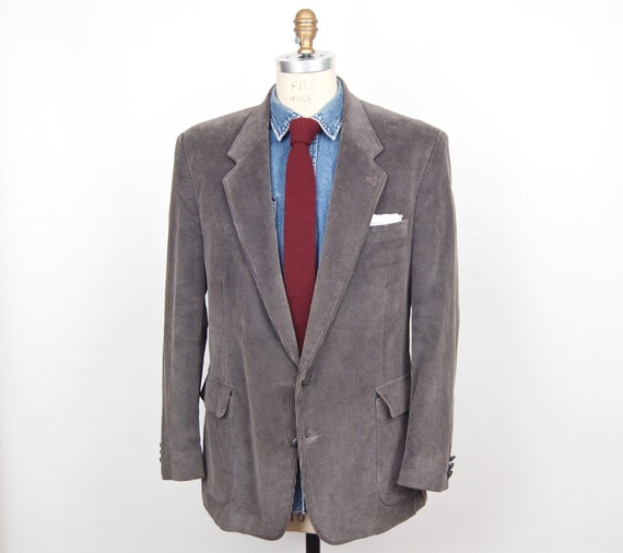 1980s Gray Corduroy Sport Coat with leather knot b