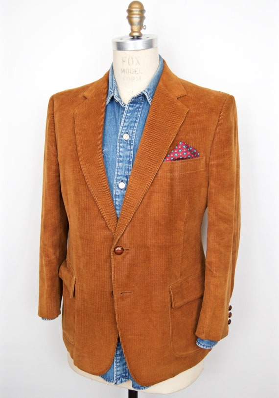 1970s Corduroy Sport Coat with knot buttons / vint