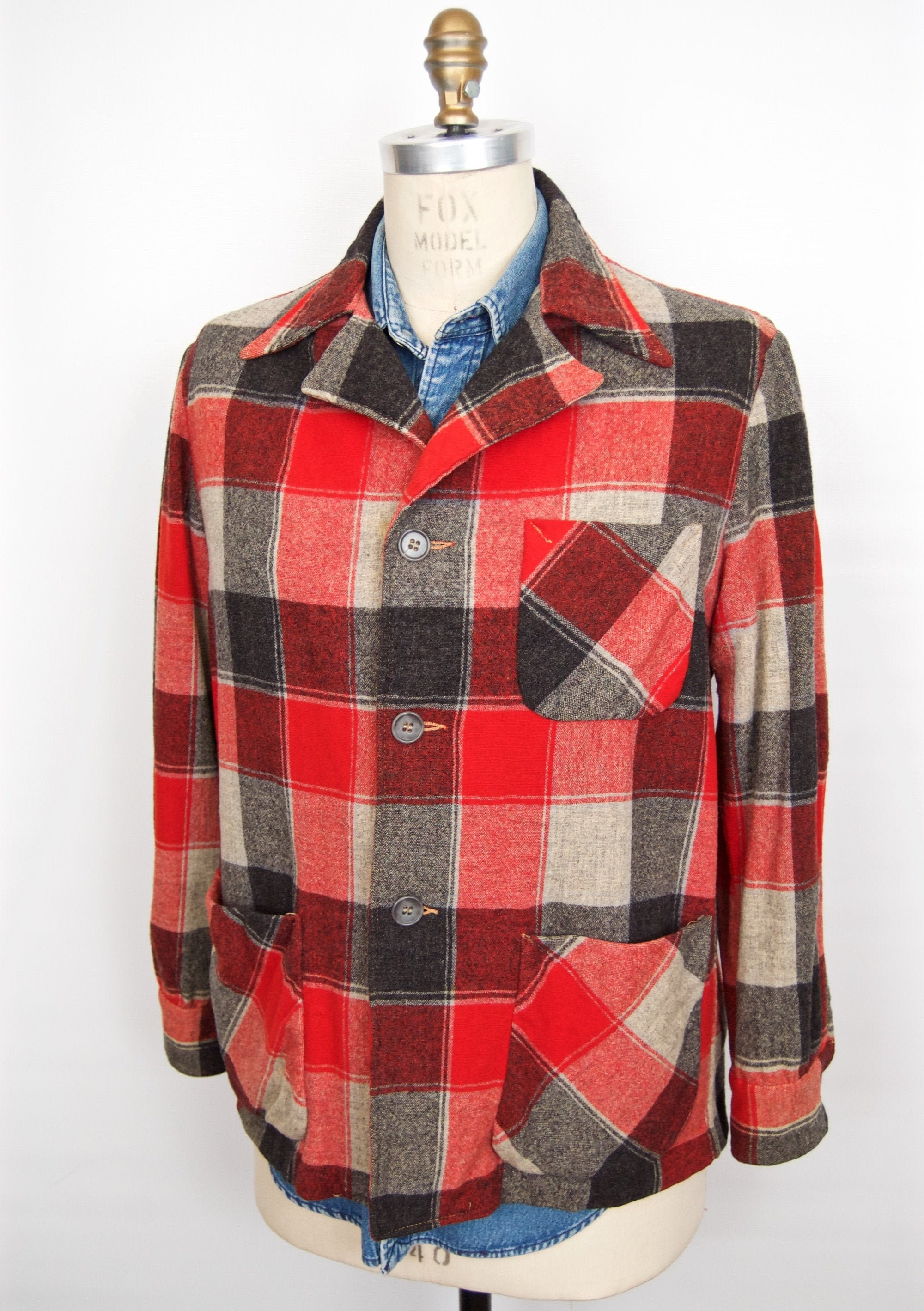 1940s Men's Shirts, Sweaters, Vests 1940S-50S Red Check Wool Sport CoatPendleton-49Ers-style Shirt Jacket Buffalo Plaid Sack Mens Medium $28.00 AT vintagedancer.com