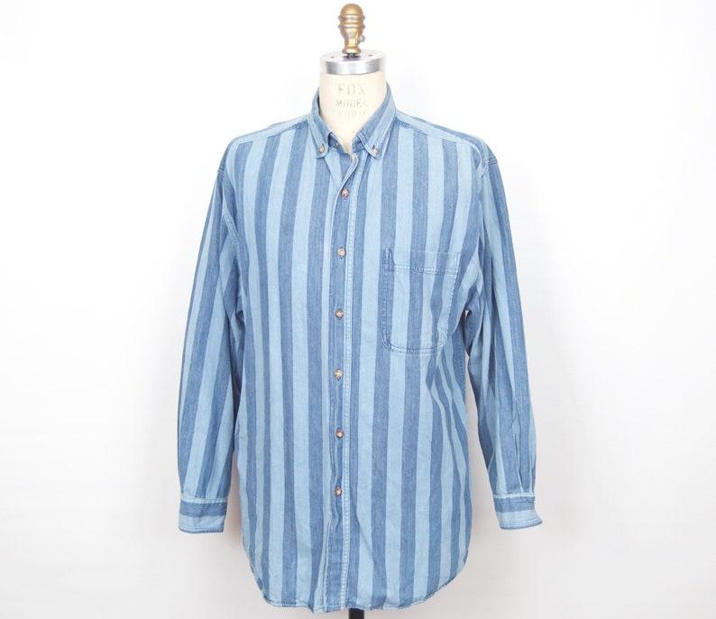 e631f16bb 1980s Striped Button-down Shirt / vintage eighties Northwest | Etsy