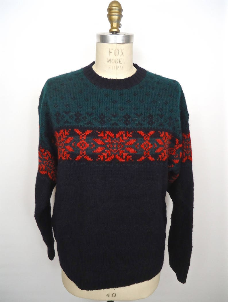 cc4051cf010 Pull jacquard de laine Shetland   1990 s Gap rouge vert   bleu
